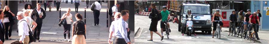 picture of pedestrians and cyclists in the City of London